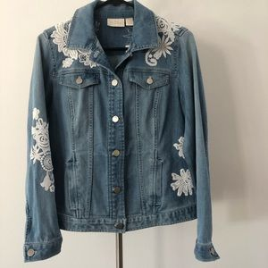Chico's Jackets & Coats - Chico's Lace Detail Denim Jacket NWT